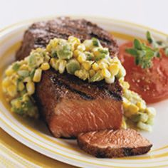 BBQ GRILLING #BBQ #Grilling New York Steaks with Avocado and Grilled Corn Salsa