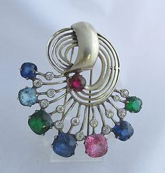 Antique-Eisenberg-Sterling-Silver-Multi-Color-Open-Swirl-Pin-Dress-Fur-Clip