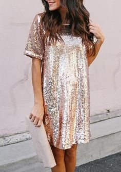 be8bef7475b Rose Golden Sequin Glitter Draped Round Neck Short Sleeve NYE Party Midi  Dress