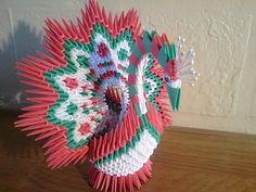3d Origami Christmas Peacock