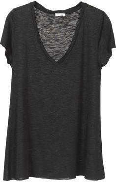 Oversized black heather sheer deep v-neck tee shirt