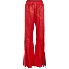 Off-White Striped leather wide-leg pants (4.800 DKK) ❤ liked on Polyvore featuring pants, bottoms, trousers, red, leather trousers, red wide leg trousers, red leather pants, red pants and red stripe pants