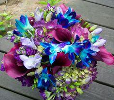 Jewel Tone Wedding Bouquet Showcasing: Calla Lilies, Hydrangea, Freesia + Dendrobium Orchids