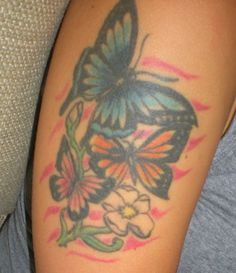 colored butterfly tattoo on half sleeve beautiful colored butterfly . - colored butterfly tattoo on half sleeve beautiful colored butterfly … – colored butterfly tatto - half butterfly tattoo Irezumi Tattoos, Tribal Tattoos, Tattoo Girls, Girl Tattoos, Butterfly Sleeve Tattoo, Butterfly Tattoos, Tattoos For Women Small, Small Tattoos, Colors