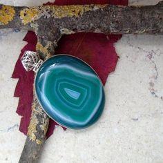 Botswana Achat, grün, Anhänger, 925 Sterling Silber in Uhren & Schmuck…