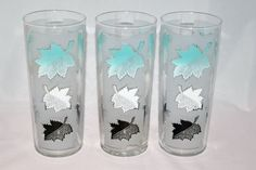 Vintage Barware-Libbey Glassware-aqua-frosted-leaves