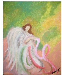 """This is the beautiful cover art for the December/January issue of The Pink Paper. It's called """"Angel"""" and was painted on canvas in oil by Brandy Brynolfson. Did you notice the pink Breast Cancer Awareness Ribbon on the right? This wasn't painted intentionally as the ribbon, but it sure looks like it. Don't you think? We love offering the opportunity to new artists to have their work used on our cover. It's really great exposure for them and our readers get to enjoy their talent."""