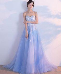 d4323c6d72 Light blue sweetheart neck tulle lace long prom dress