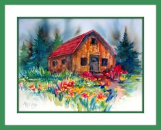 Watercolor Rustic Old Cabin by Martha Kisling Watercolor Barns, Watercolor Paintings, Watercolors, Old Cabins, Mountain Art, Winter Art, Old Wood, Painting Frames, Vignettes