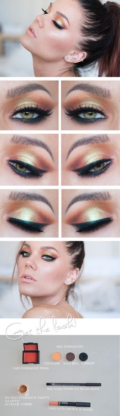 """Today's Look : """"Chickadee"""" -Linda Hallberg (a beautiful yellow-orange eye that is full of iridescence, would love to see this on hazel/brown eyes...)07/22/13"""