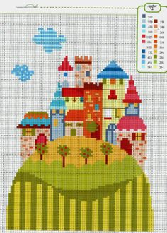 Gráficos Ponto Cruz Cross Stitch Fairy, Cross Stitch House, Modern Cross Stitch, Cross Stitch Flowers, Cross Stitch Charts, Cross Stitch Designs, Cross Stitch Patterns, Cross Stitching, Cross Stitch Embroidery