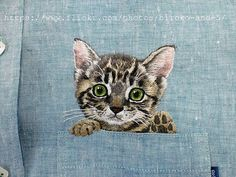 Hey, I found this really awesome Etsy listing at https://www.etsy.com/listing/232804574/hand-embroidered-cat-in-the-pocket-on