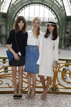 Chic x 3: Alexa Chung, Poppy Delevingne and Caroline Sieber.  Please give Alexa a sandwich.  Seriously.