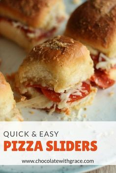 and Easy Pizza Sliders - Chocolate With Grace Quick and Easy Pizza Sliders made with Hawaiian Rolls, Marinara, Pepperoni and Mozzarella Cheese with a buttered Parmesan Crust. Perfect game day snack, appetizer or family get together. Hawaiian Roll Sandwiches, Rolled Sandwiches, Slider Sandwiches, Sliders With Hawaiian Rolls, King Hawaiian Sliders, Mini Sliders, Easy Baking Recipes, Cooking Recipes, Pizza Recipes