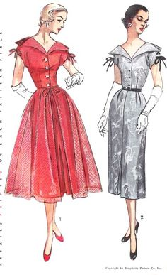 1950s Beautiful Wing Collar Cocktail Party Dress and OverSkirt Pattern Simplicity 3472  Slim Dress Full Over Skirt Bust 30 Vintage Sewing Pattern FACTORY FOLDED