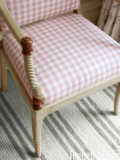 A formal Empire-style chair was dressed down with inexpensive gingham.