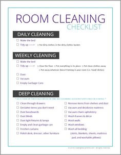 Do your tweens and teens know what to do when you tell them to clean their room?If not, then they need this FREE Room Cleaning Checklist. Daily Cleaning Checklist, Weekly Cleaning, Deep Cleaning Tips, House Cleaning Tips, Spring Cleaning, Cleaning Hacks, Bedroom Cleaning, Dorm Cleaning, College Checklist