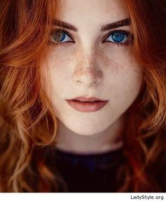 Beauty with red hair and blue eyes - LadyStyle