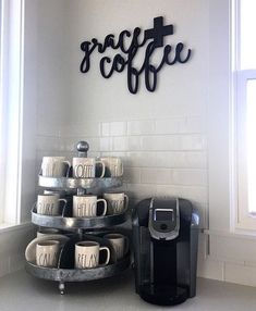 Coffee Bar: Tin holder / cup divider (Hobby Lobby), Coffee Machine (Keurig) & Grace+Coffee Sign (https://www.etsy.com/shop/Featherandbirch)