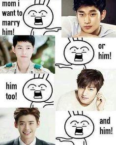 So many choices! (KIM SOO HYUN, SONG JOONG KI, LEE MINHO, LEE JONGSUK)