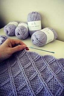Once Upon A Cable Blanket by Lisa van Klaveren. Pattern available to purchase at Ravelry