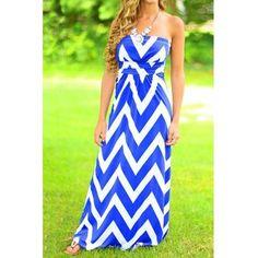 Stylish Strapless Sleeveless Striped Women's Maxi Dress (BLUE,M) in Maxi Dresses | DressLily.com