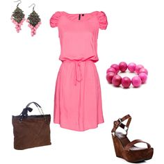 """Pink and Brown"" by wcatterton on Polyvore"