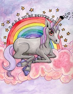 Whimsical Fine Art Giclee Print Big Gay Unicorn by TheMagicArtShop, $20.00 Celebrate your individuality and Dare To Be Different with this Big Gay Unicorn of unspecified gender. S/he is a glamorous, glitter bombed and unapologetically herself with shoes and a horn unlike all other Unicorns. A tongue in cheek, but loving homage to all things mystical and rainbow.