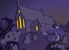 Opening scene of church from animated short Comic Styles, Rowan, 2d, Sketches, Scene, Animation, Illustrations, Cartoon, Comics