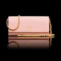 Prada Woc Leather Saffiano Wallet Pink Clutch