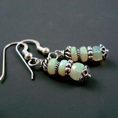 Opal Earrings, Blue Pink Ethiopian Opal Dangle Earrings with Sterling Silver French Wires