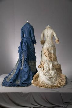 Wedding dress and bridesmaid dress, 1877