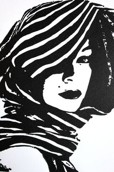 "5"" x 7"" Linocut -- Woman Wearing Scarf. $40.00, via Etsy."