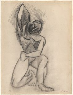 This drawing of a muscular, kneeling nude is a study for the leftmost figure in Picasso's large painting Three Women (1907–8; The State Hermitage Museum, Saint Petersburg), an important work in the artist's development of Cubism