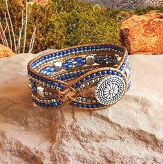 Blue and Silver Wrap Bracelet-Beaded Leather Cuff-Woman's