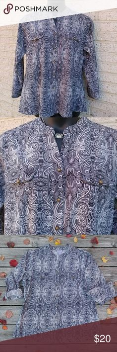 Laura Scott Split Neck Black Paisley Shirt-1X Shirt is new. It runs small. Measurements are bust 46 inches and 27.5 inches in length. Originally sold for $44.  If you have any questions please, feel free to contact me. Thanks! #nwt #trendy #chic Laura Scott Tops