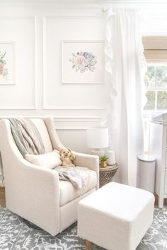 White Floral Nursery Makeover Reveal - Bless'er House An all white nursery makeover room reveal with classic, vintage style furniture, Anthropologie-inspired patterns and textures, and floral accents. White Floral Nursery, Decor, Furniture, Home, Interior, Vintage Style Furniture, Home Decor, Living Room Designs, Room