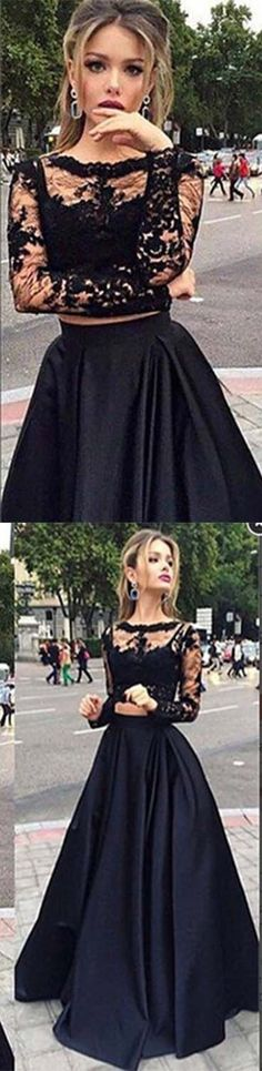 Lace A-Line Prom Dress,Two Pieces Formal Dresses,Evening Dresses