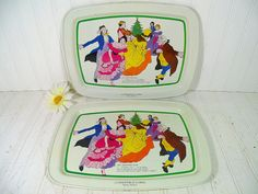 Vintage Ivory Enamel Metal Trays Set of 2 with Litho Scene from A Christmas Carol - Mr. Fezziwigs Ball - Colorful Victorian Dancing Couples