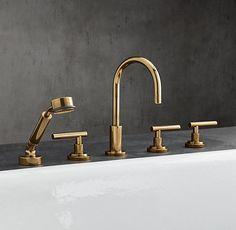 Kohler Purist Wall Mount 2 Handle Lavatory Faucet Trim In Vibrant Modern Polished Gold K T14417