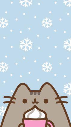 Winter/Christmas Pusheen Phone Wallpaper/Background - I love pusheen ❤️ - Cat Wallpaper Cats Wallpaper, Wallpaper Winter, Christmas Phone Wallpaper, Cute Wallpaper For Phone, Free Iphone Wallpaper, Kawaii Wallpaper, Cute Wallpaper Backgrounds, Winter Wallpapers, Cute Food Wallpaper