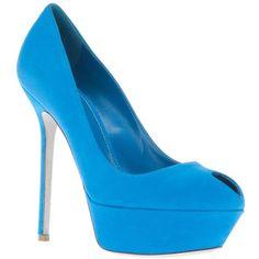 SERGIO ROSSI peep-toe stiletto pump (£429) ❤ liked on Polyvore featuring shoes, pumps, heels, blue, high heels, blue pumps, blue high heel shoes, blue suede shoes, high heel shoes and blue peep toe pumps