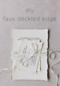 DIY Faux Deckled Edge Paper via OnceWed.com