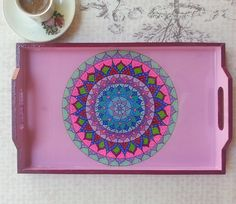 Hand Painted Wooden Serving Tray Mandala by MelisOzcanDesign