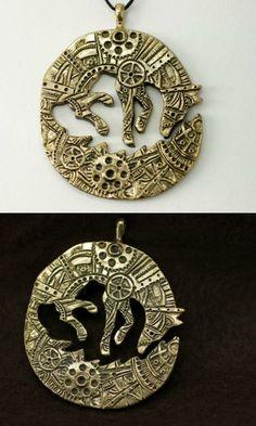 Steampunk Fox bronze pendant necklace #ad #Etsy #fox #steampunk