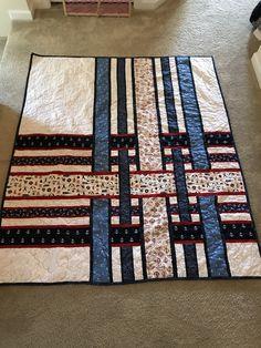 Cherry Pop quilt pattern in navy themed fabrics