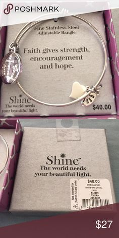 """NWT Fine Stainless Steel bangle braclet Fine Stainless steel adjustable bangle braclet with 3 charms.  Inspiration """"Faith gives strength, encouragement and hope.""""  Perfect gift for someone who is going through a difficult time. Jewelry Bracelets"""