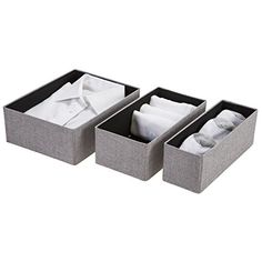 Foldable Organizers, Gray Cotton Fabric, Set Decorative Collapsible Storage Boxes, Closet Drawer Organizers for Organizing & Classifying Small Clothing & Accessories -Durable Mold-free, Closet Organizer With Drawers, Dresser Organization, Closet Storage, Storage Boxes, Storage Ideas, Classroom Supplies, Cotton Fabric, Woven Fabric, Declutter Your Home