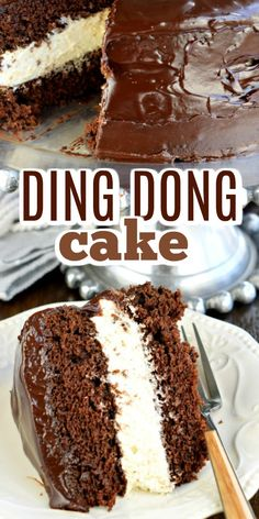 This Copycat Hostess Ding Dong Cake recipe is a rich, decadent chocolate cake, with a creamy filling and chocolate ganache spread over the top! So easy, you'll love it! dinner ideas for him recipes Ding Dong Cake Easy Desserts, Delicious Desserts, French Desserts, The Cheesecake Factory, Nake Cake, Decadent Chocolate Cake, Chocolate Cale, Chocolate Cobbler, Chocolate Ganache Cake