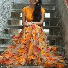 Orange is one of the trending colours, which works really well for Lehenga Choli. Here are 10 best and latest Orange Lehenga Choli Designs which are handpicked especially for this season. Lehenga Choli Designs, Ghagra Choli, Salwar Designs, Orange Lehenga, Silk Lehenga, Floral Lehenga, Black Lehenga, Lehenga Style, Silk Dupatta